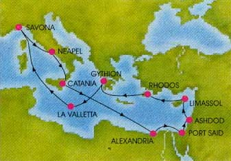 The Map Above Shows Route That Our Ship Took During Cruise